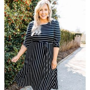 NWOT - Chic Soul black and white striped dress